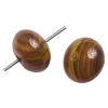 Glass Pressed Beads 8mm Round Brown Stripe
